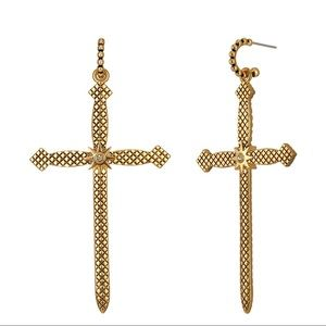 Gold Cross Earrings 14K Gold Plated Texture